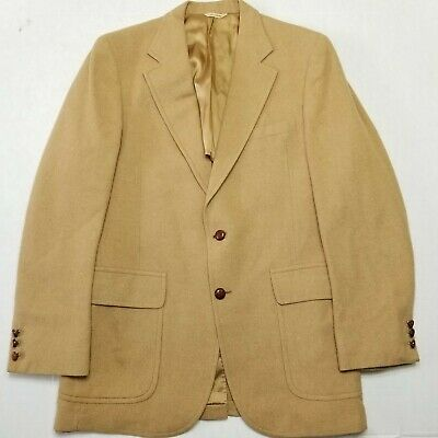Mark Shale Camel Hair Sport coat Blazer - Leather Buttons - about a 44R No Tag