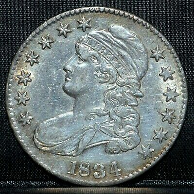 1834 Capped Bust Half Dollar ✪ Au Details ✪ 50C About Unc Lettered Edge◢Trusted◣