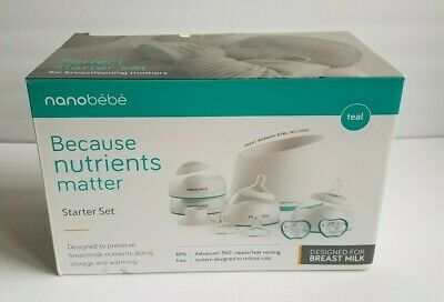 Nanobebe Breast Milk Nursing Bottle Starter Set in Teal