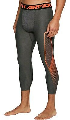 NWT Under Armour 3/4 Compression Pants Tights Gray Orange 1309925 019 Mens Large
