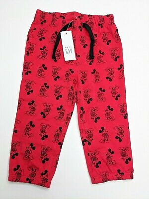 New Disney baby Gap Red & Black Mickey Boy Pants - 3-6 & 12-18 Months