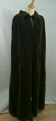 1960's vintage QUAD brown velvet sweeping cloak victorian theatrical opera cape