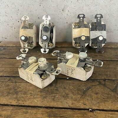 LOT 6 Vintage Push Button Light Switch 2 Way Pearl Perkins Porcelain Antique B2