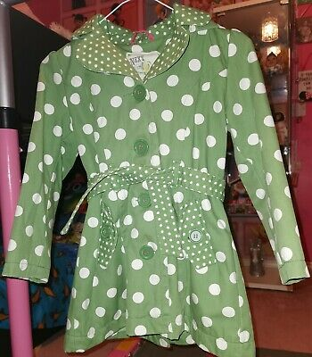Next Girls Green Spotty Coat jacket With Hood and belt Age 7-8 Years Vgc