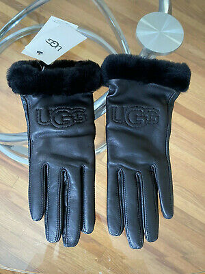 UGG Classic Leather Genuine Shearling Logo TECH Gloves Black Sz M NWT$110 17440