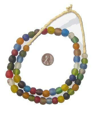Premium Mixed Recycled Glass Beads 11mm Ghana African Sea Glass Multicolor Round