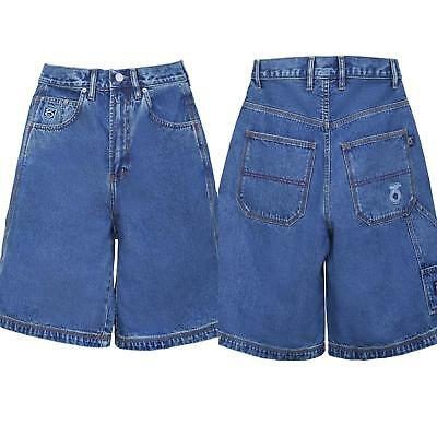 360 Clothing BOYS GREEN DIRTY BLUE OVER THE KNEE LENGTH DENIM JEANS SHORTS