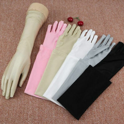 Women Satin Long Gloves Five Fingers Sunscreen Sun Protection Driving Gloves US