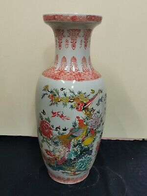 Beautiful Hand painted Flowers and Birds Asian Chinese Vase Height 60cm
