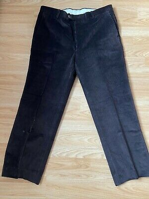 Vintage French Corduroy Flat Fronted Work Trousers (Dark Brown) Size W36 L28