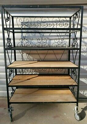 Antique French Country Black Solid Forged Iron Frame Bakers Rack Solid 6 Tiers