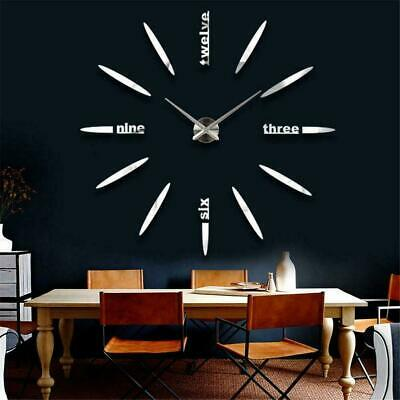 Stick On Wall Clock DIY Large Modern Design Decal 3D Stickers Mute Decorative
