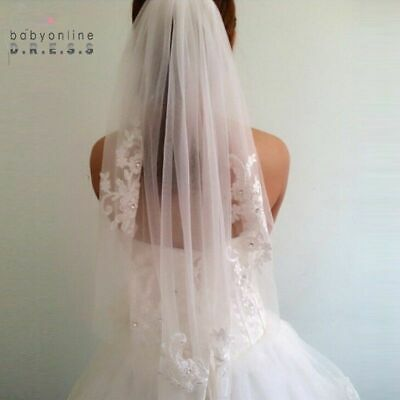 1T White Bridal Wedding Veil With Comb Lace Edge Applique Elbow Length New