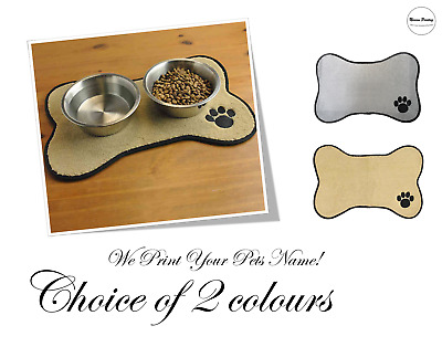 Personalised Pet Dog Cat Food Feeding Bowl Mat Cream Grey