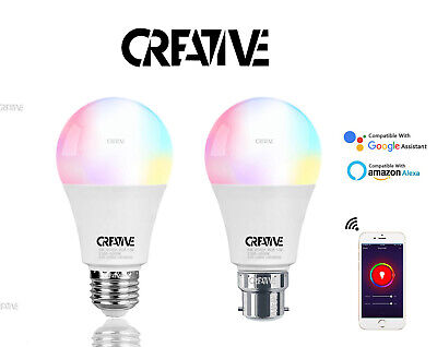 RGB Smart Bulb 10W B22/E27 Wireless WiFi App Control with Alexa Google Home