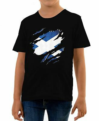 Torn Scotland Flag Kids T-Shirt Scottish Rugby Supporter Flag Football Sport