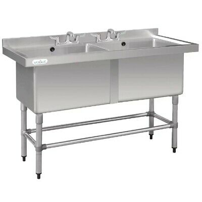 New Commercial Stainless Steel Sink Double Bowl Deep Pot Wash 1400mm 140cm