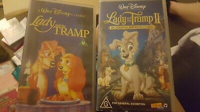 Lady And The Tramp One And Two Walt Disneys  Vhs Pal Video~A Rare Find