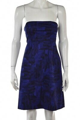 Theory Womens Dress Size 4 Blue Black Printed Strapless Party Sheath Cocktail