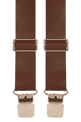 Brown Leather Tan X-Style Trouser Braces Mens Suspenders