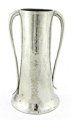 Arts & Crafts Hand Beaten Polished Pewter twin handle Vase by Walker & Co  c1930