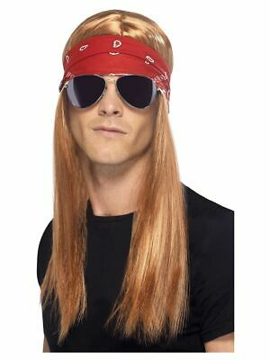 Biker Wig Beard Bandana Glasses Fancy Dress Blonde Adult Hard Rocker Kit