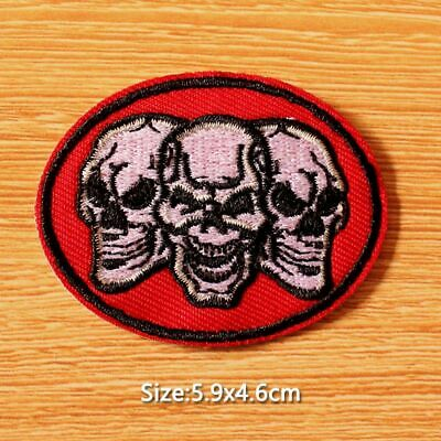 EMBROIDERED HARD CORE SKULL PATCH 6020 skeleton patches biker emblems skulls NEW