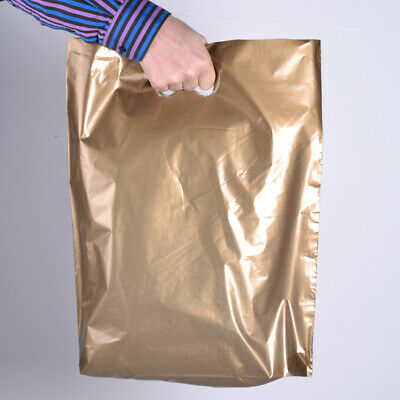 """Gold Plastic Carrier Bags 15 x 18"""" Patch Handle Strong 45mic (500 Box)"""