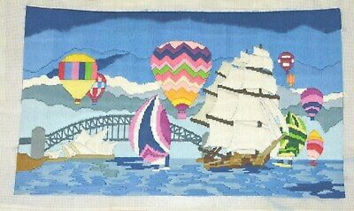 Completed Sydney Harbour Tapestry Canvas Longstitch Embroidery Picture = 53x32cm
