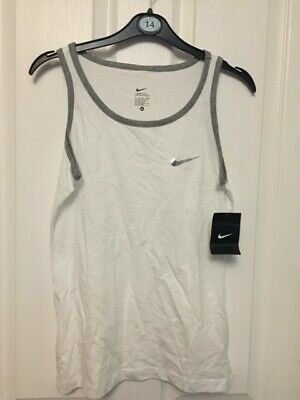 Bnwt Girls Stunning Nike Essential Style Tank/Vest Top Xl (13-15) White With Gre