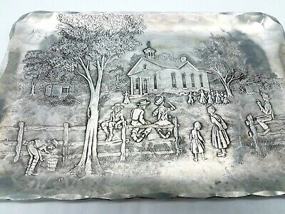 Wendell August Forge Aluminum Tray with Amish Farm Scene Children Playing - Nice