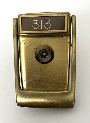 VINTAGE Mid-Century Brass DOOR-KNOCKER With PEEPHOLE & Room/Apt # 313/Name Plate