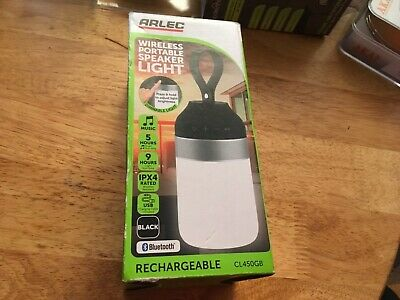 Brand new Arlec Wireless Portable Speaker Light bluetooth camping garden shed