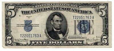 1934 SERIES $5 Silver Certificate,Large Blue Seal,  VG old money LOT SALE