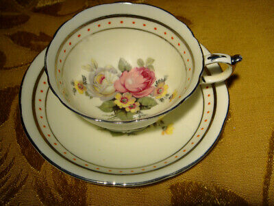 Vintage Paragon Cream Cup & Saucer Pink White Roses Floral Gold Trim England