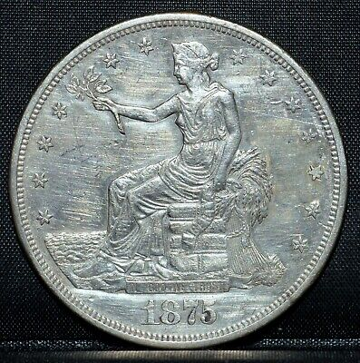 1875-Cc $1 Trade Dollar ✪ Au Details ✪ About Unc Silver Carson City ◢Trusted◣