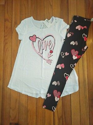 NWT Girls Justice Outfit Love Valentine's Day Top/Leggings Size 6/7