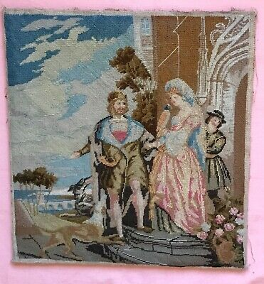Antique Victorian Tapestry Picture. Medieval Scene. Lady, Dogs, Huntsman, Bird