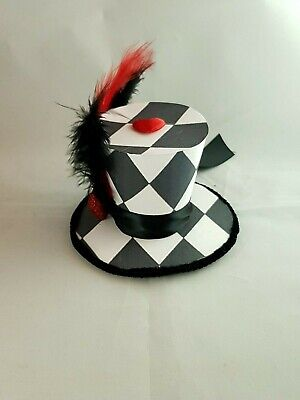 Black Red White Harlequin mini top hat fascinator Fancy Dress Halloween