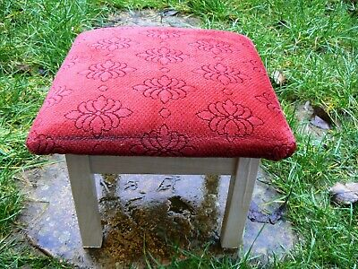 Ashcraft Vintage Upholstered Upper Wooden Foot Rest Stool England