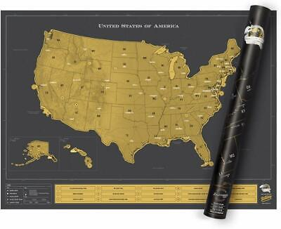 Luckies of London USA America Travel Scratch Map Log Gift Black and Gold NEW
