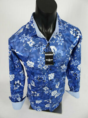 Mens Barabas Classic Fit Shirt in Blue and White Floral Patterns Button Front