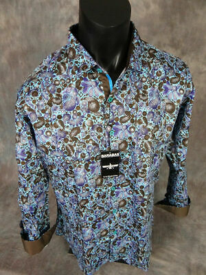 Mens Barabas Premiere Classic Fit Shirt Blue White Stripe with Floral Overlay
