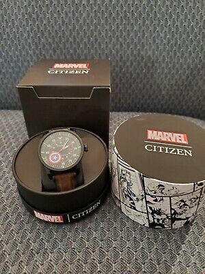 Citizen Marvel Captain America AW1367-05W Watch Camo Silicone Strap Box & Papers