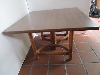 Mid Century Rattan Bamboo Wicker & Formica cocktail Table Calif-Asia 24 x 16 Vtg