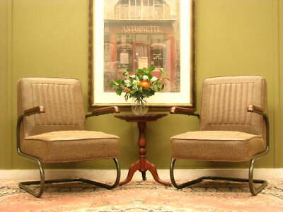 PAIR RETRO / INDUSTRIAL STYLE LEATHER ARMCHAIRS / CHAIRS ~ AGED FINISH   c2000s
