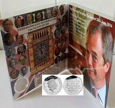 Brexit Coin 50p Card Limited Edition Boris Farage + New Uncirculated 2020 Coin