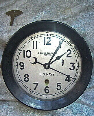 Early Wwii  Chelsea Clock Co. Boston Sertal# 399834 U.s. Navy Zig Zag Ship Clock