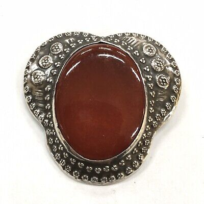 Beautiful Vintage * Arts & Crafts *  CERAMIC CABACHON BROOCH * Silver Scottish