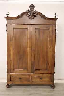 19th Century Italian Louis Philippe Hand Carved Walnut Wardrobe or Armoire